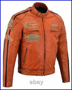 Blouson En Cuir Pour Moto, Veste Pour Homme, Vintage Orange, CE, Trike, Biker