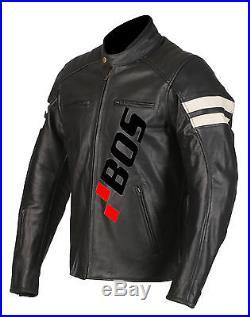 Blouson En Cuir pour Moto. Chopper Blouson Noir Veste Pour Homme