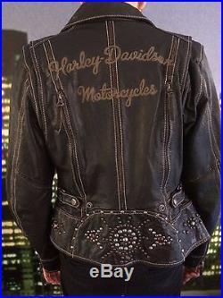 blouson harley davidson femmes veste de moto en cuir style perfecto taille m blouson veste cuir. Black Bedroom Furniture Sets. Home Design Ideas