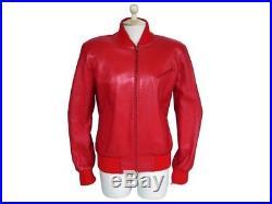 Blouson Hermes 42 L Veste Femme En Cuir D'agneau Rouge Leather Jacket Coat 5000
