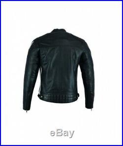 Blouson Moto Cuir, Veste Moto, Biker Veste, Vintage, Noir, Orange, Trike, Urbain