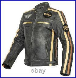 Blouson Moto Hommes Classique Veste de en Cuir Rétro Motard Vintage, Gris