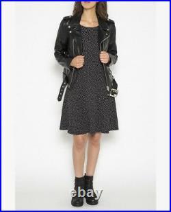 Blouson Perfecto Schott Nyc Neuf Femme Cuir D'agneau Noir Taille XL
