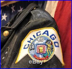 Blouson Police Chicago Cuir Année 70 Vintage