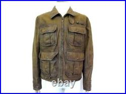 Blouson Polo Ralph Lauren T50 M Veste En Cuir Marron Leather Jacket 1700