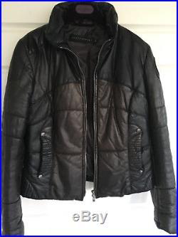 Blouson Ventcouvert cuir marron T42 capuche amovible Doudoune -Veste Jacket