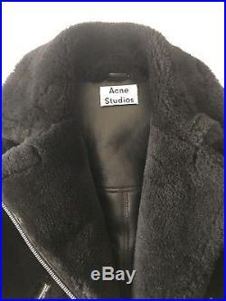 4d733f916834 Blouson Veste ACNE STUDIOS VELOCITE Cuir Noir Black Jacket Coat Shearling  34 36