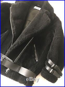 Blouson Veste ACNE STUDIOS VELOCITE Cuir Noir Black Jacket Coat Shearling 34 36