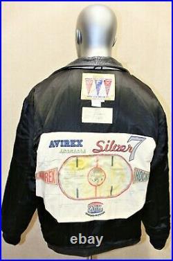 Blouson Veste AVIREX VARSITY SILVER 7 NAHL Hockey cuir vieilli Taille L US L EUR