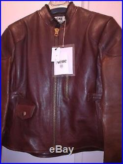 Blouson Veste Acne Mabel Studio Leather Jacket Cuir Veau T36