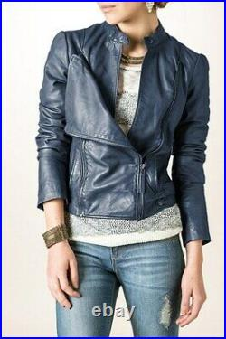 Blouson Veste Bonobo Femme Neuf 100% Cuir Bleu Taille XL