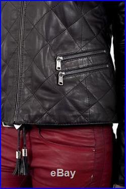 Blouson Veste Cuir Neuf John & Yoko Femme 100% Agneau Noir Taille 38