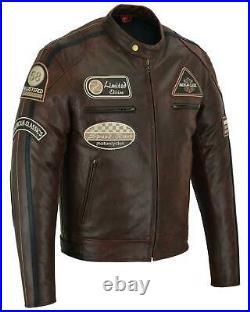Blouson Veste En Cuir Homme Moto, Blouson Biker, Bordo VintageCE Protector