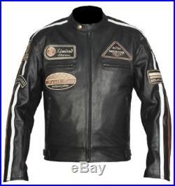Blouson, Veste En Cuir Homme Moto, Veste Hommes Motard En Cuir Tout Neuf S-5XL