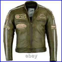 Blouson Veste En Cuir Moto Homme Vintage Cafe Racer Leather Blouson S-5XL