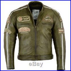 Blouson Veste En Cuir Moto Homme Vintage Cafe Racer Leather Jacket Biker Jacket