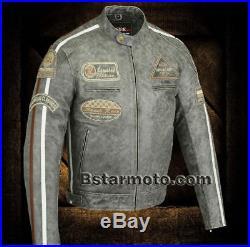 Blouson Veste En Cuir Moto Homme, Vintage, Cafe Racer, MC, Gris, Retro, Trike