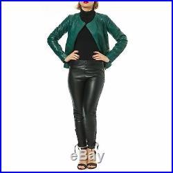 Blouson Veste Naf Naf Femme Neuf Cuir D'agneau Vert Taille 42