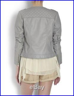 Blouson Veste Neuf Morgan Femme 100% Cuir Gris Perle Taille 42