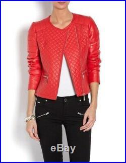 Blouson Veste Neuf Morgan Femme 100% Cuir Rouge Taille 40