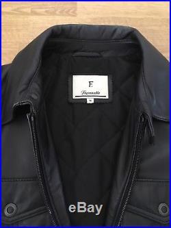 Blouson Veste Parka cuir Façonnable Noir Taille M