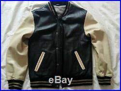 Blouson, Veste, Teddy Varsity tout cuir T54 noir & crème d'occasion comme neuf
