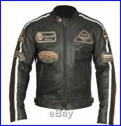 Blouson Veste en Cuir Moto Homme, Tout Des Tailles Veste En Cuir Pour Moto, Noir-L