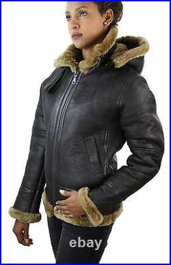 Blouson aviateur femme marron beige biscuit capuche peau retournée de mouton