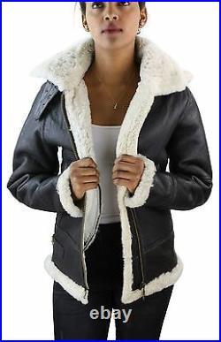 Blouson aviateur femme marron blanc capuche vrai peau retournée de mouton