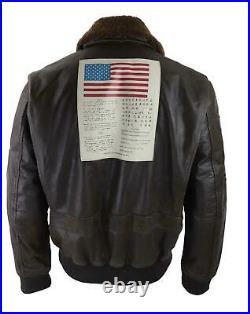 Blouson aviateur style Top Gun pour homme cuir véritable marron délavé