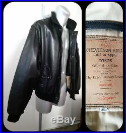 Blouson aviateur veste doublée flying Jacket CHEVIGNON AIRS CORPS cuir noir XXL