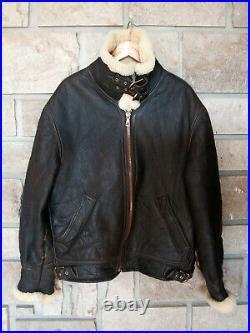 Blouson aviateur vintage homme XL, Veste de pilote en cuir 48, Vêtements moto