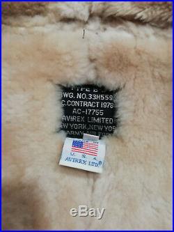 Blouson bombardier Avirex type B3, cuir de mouton lainée taille L/XL neuf