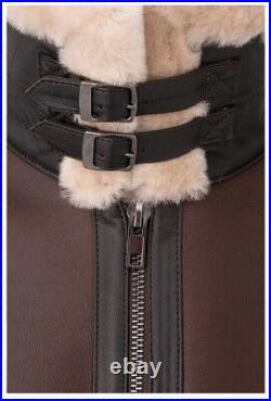 Blouson bombardier homme cuir peau lainée (mouton retourné) Taille S