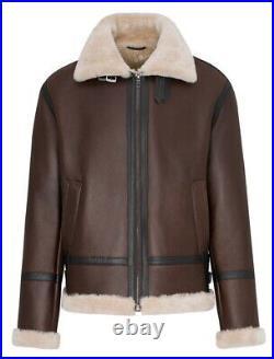 Blouson bombardier homme cuir peau lainée (mouton retourné) Taille XL