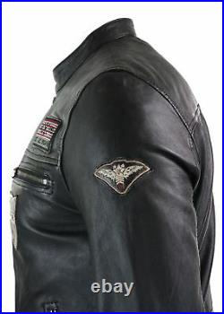 Blouson court homme cuir noir fermeture éclair coupe slim Biker rétro badges