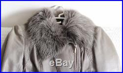 Blouson cuir KAREN MILLEN UK12 38/40 taupe fourrure veste leather fur jacket