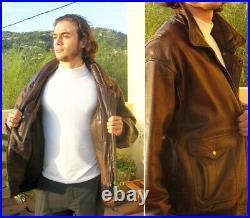 Blouson cuir bombardier homme, marron, taille XL, excellent état