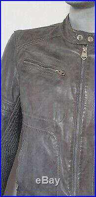 Blouson cuir gris Redskins col motard 100 % cuir de moutonMarque redskins