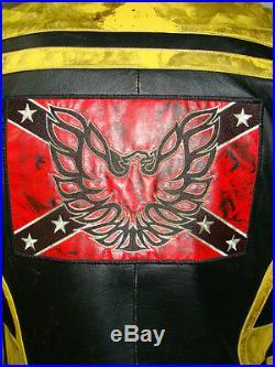 Blouson cuir moto vintage vieilli homme noir et jaune BOMB BOOGIE taille XL