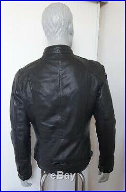 Blouson cuir noir Oakwood col motard 100% mouton nappa taille M 1m65 à 1m80