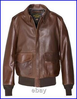 Blouson cuir schott A2 flight jacket BROWN made in USA 574