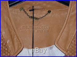 Blouson cuir tressé camel IKKS Taille XL- prix initial 475 euros