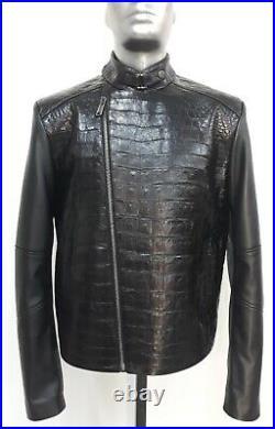 Blouson en crocodile véritable et cuir/genuine crocodile jacket and leather
