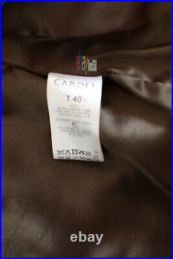 Blouson en cuir d'agneau veste perfecto CAROLL Taille 40 Marron NEUF