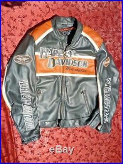 Blouson en cuir de marque Harley Davidson HD Motard Veste Moto Biker Café racer