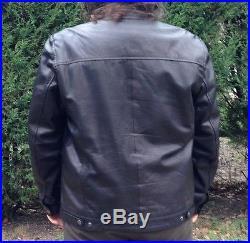 Blouson en cuir type Biker cuir d'agneau XL -Leather Jacket Schott Veste