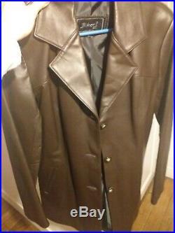 Blouson femme cuir marron neuf t 38 jolie coupe tres féminine
