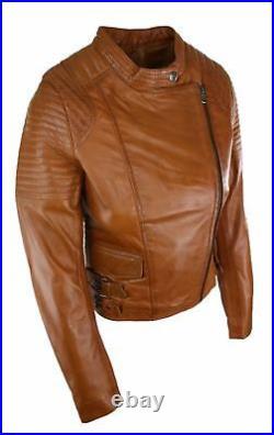 Blouson femme cuir véritable coupe courte cintrée style biker vintage