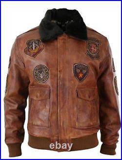 Blouson homme aviateur bomber pilote style vintage cuir vieilli marron clair
